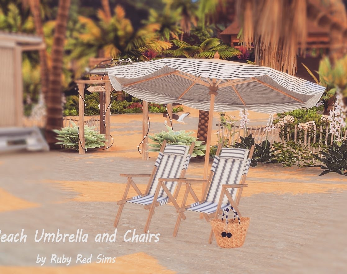 BEACH UMBRELLA AND CHAIRS BY RUBY'S HOME DESIGN