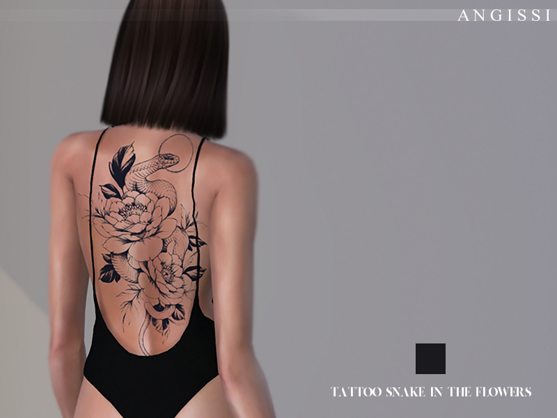 SNAKE IN THE FLOWERS TATTOO BY ANGISSI