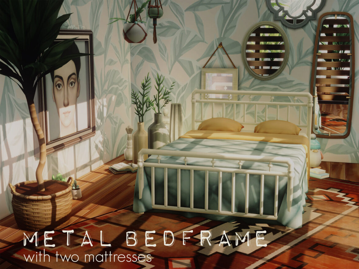 METAL BEDFRAME WITH TWO MATTRESSES BY PICTURE AMOEBAE